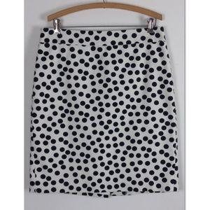 Ann Taylor White Polka Dot Pencil Skirt Size 12